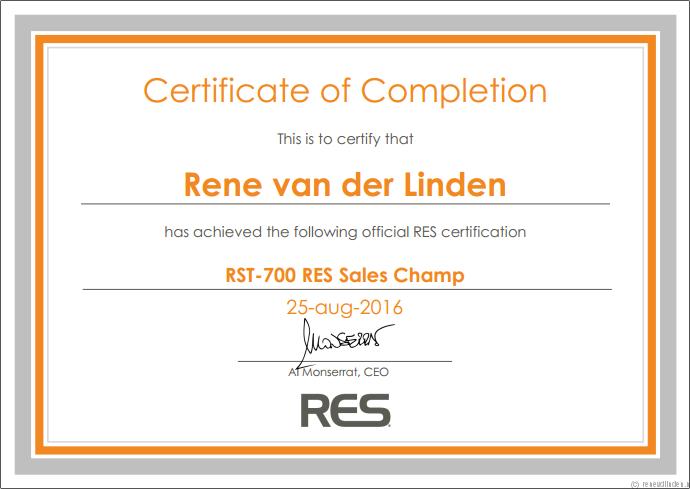 RES Sales Champ - Rene van der Linden